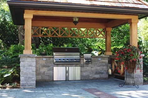Lowes Patio Bench Covered Bbq Area With Natural Stone Counters Traditional