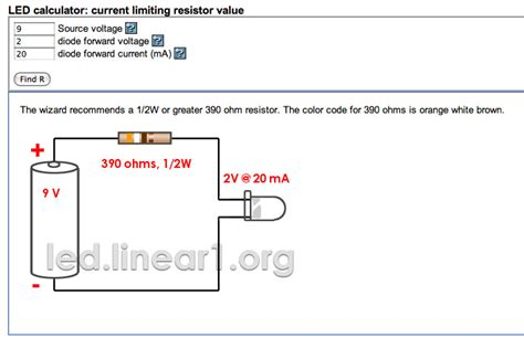resistor and voltage calculator ninevolts led calculator