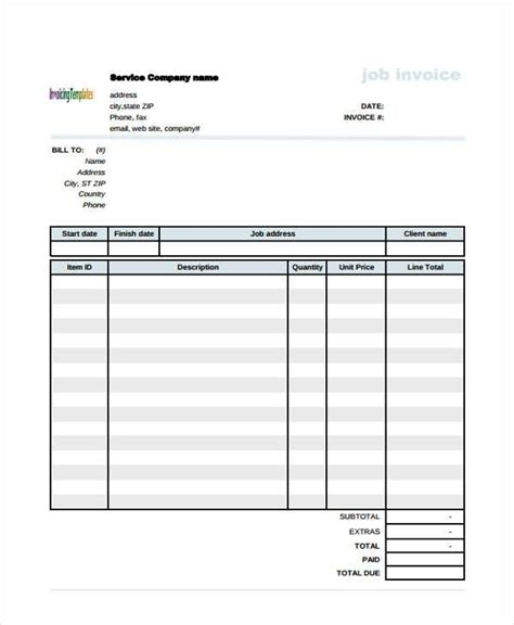 sle construction invoice forms 8 free documents in
