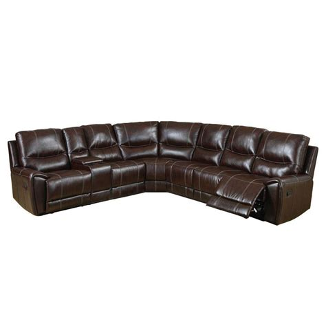 Brown Bonded Leather Sofa Furniture Of America Keystone Brown Bonded Leather Sectional Cm6559 The Home Depot
