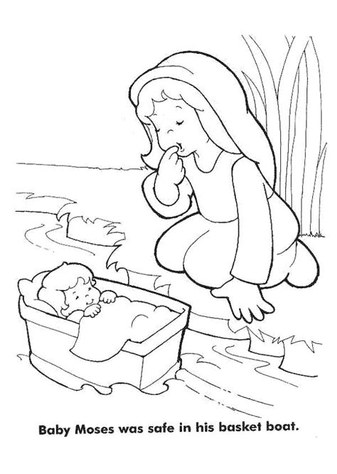 coloring pages baby moses basket moses baby moses was safe in his basket boat coloring