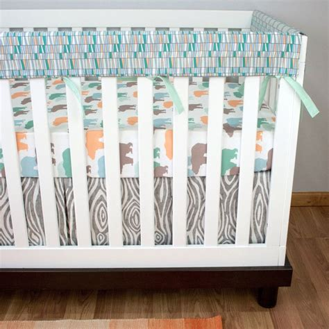 Outdoor Themed Crib Bedding by Bumperless Crib Bedding Baby Bedding Rail Guards Mint
