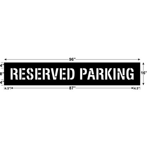 reserved parking template reserved parking stencil 87 x 8 171 bc site service
