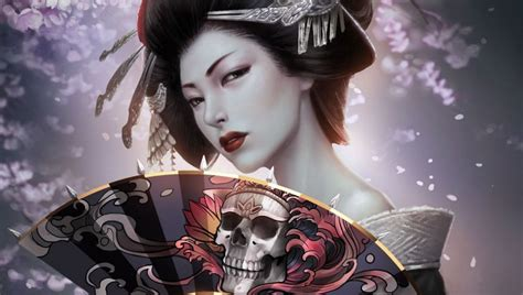 geisha tattoo wallpaper japanese geisha with skull art fan ps vita wallpapers