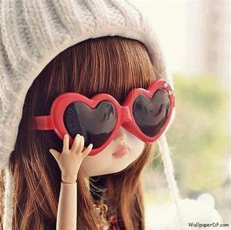 unique pictures for dp cutie little doll with heart glasses unique dp for fb