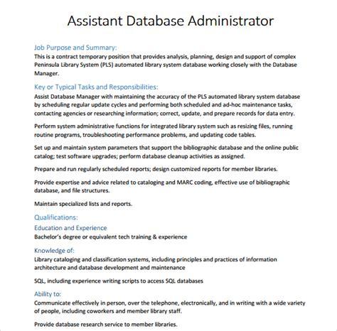 10 database administrator resume templates free sles