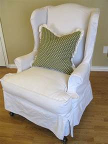 Shabby Chic Chair Slipcovers by Custom Slipcovers By Shelley White Denim Wingback Chair
