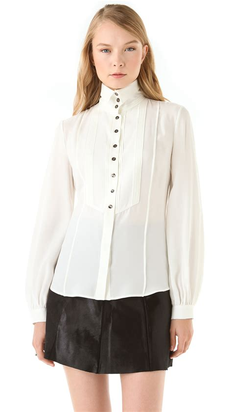 high end collars viktor rolf high collar tuxedo blouse in white lyst