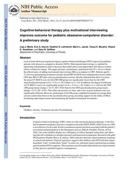 Pdf Cognitive Behavioral Therapy Plus Motivational