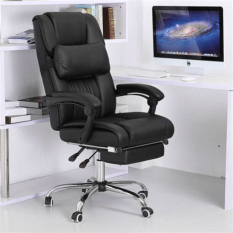 Reclining Office Desk Chair Executive Reclining Office Chair Ergonomic High Back Leather Footrest Armchair Ebay