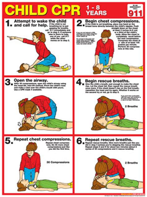 printable cpr instructions cpr chart child laminated