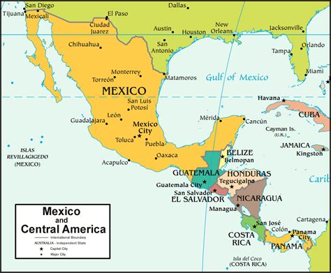 map of usa mexico and central america mexico map and satellite image