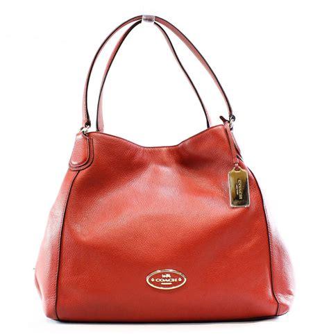 Coach Edie Bags Branded Asli Original Authentic Genuine coach edie currant pebbled leather large turnlock