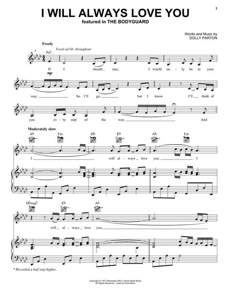 Buku Houston I Will Always You i will always you sheet by houston piano vocal guitar right melody