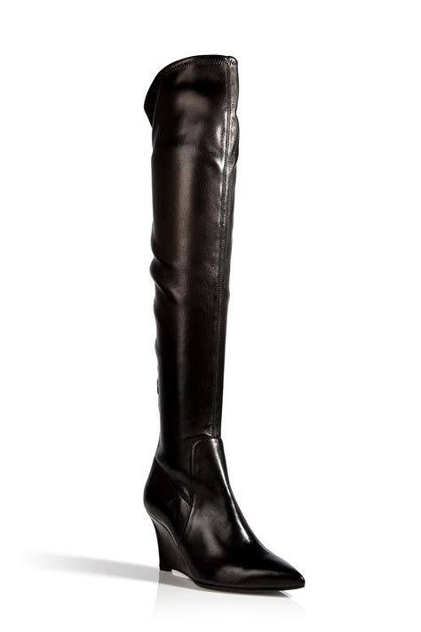 sergio leather the knee wedge boots in black in