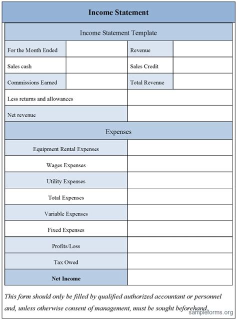 self employed profit and loss form template examples