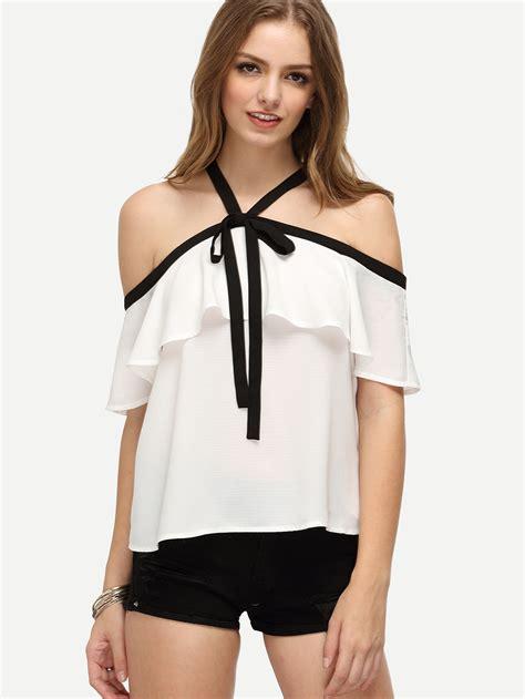 Season Blouse blouses ruffle halter the shoulder blouse
