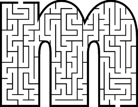 Small Letter M Coloring Pages Maze Coloring Pages