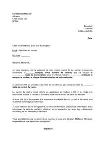 lettre de r 233 tractation assurance auto modele de lettre