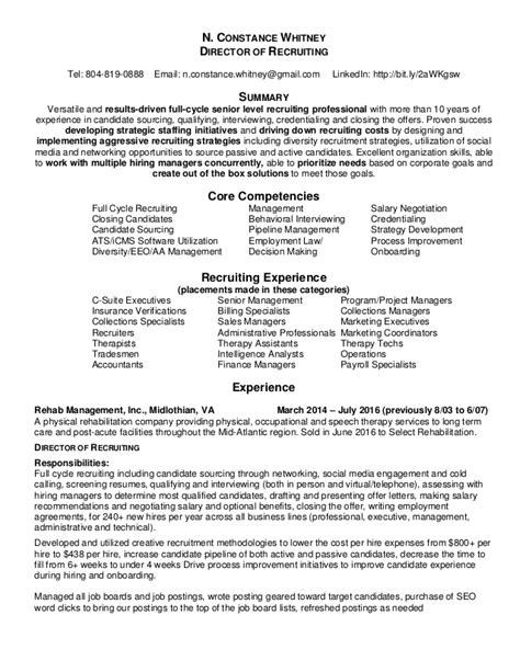 talent acquisition resume sle nc resume recruiting talent acquisition