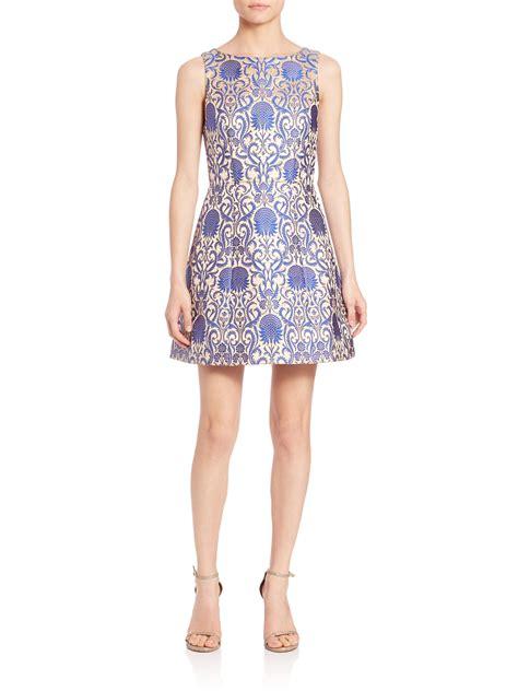 Blue Ruffled Brocade Dress lyst carrie brocade dress in blue