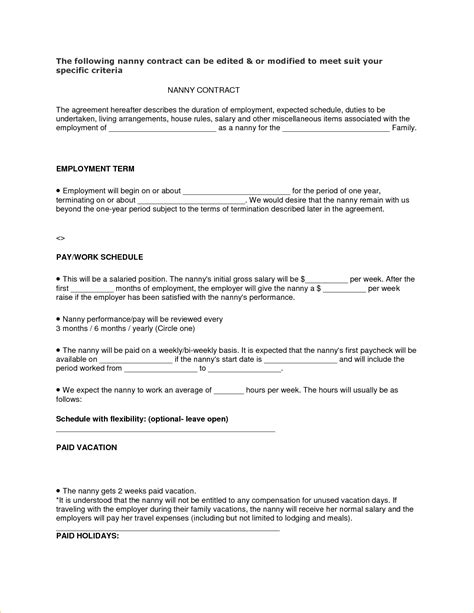 Contract Picture Of Nanny Contract Template Nanny Contract Template Nanny Agreement Template