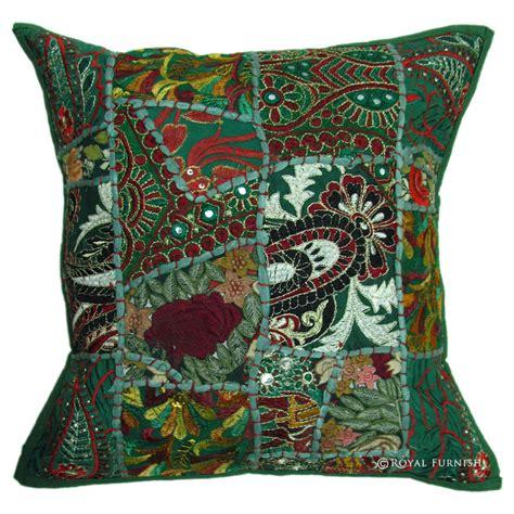 green vintage bohemian tribal patchwork pillow sham
