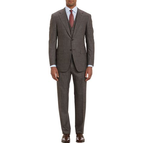 Two Button Suit lyst canali three two button suit in brown for
