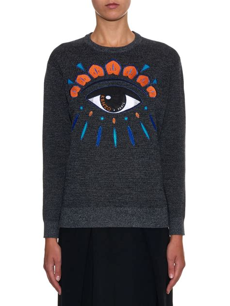 Mk2082 Eye Sweater Grey kenzo icons eye embroidered knit sweater in gray lyst