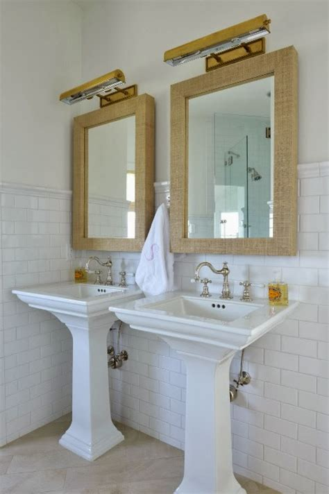 grasscloth mirror cottage bathroom munger interiors