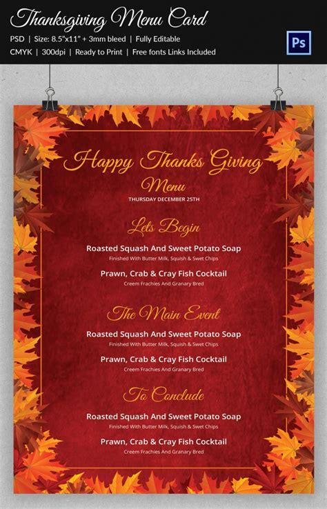 thanksgiving menu card template free 45 thanksgiving designs free printable psd ai