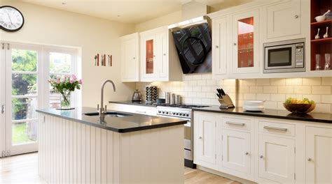 Open Kitchens Designs by White Shaker Kitchen With Red Interiors From Harvey Jones