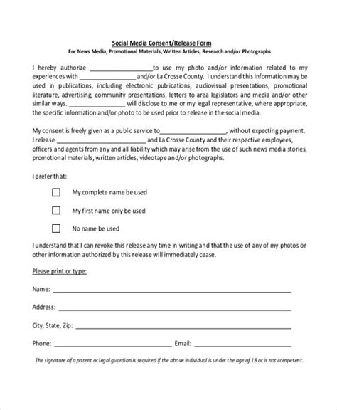 social media consent form template yahoo image search