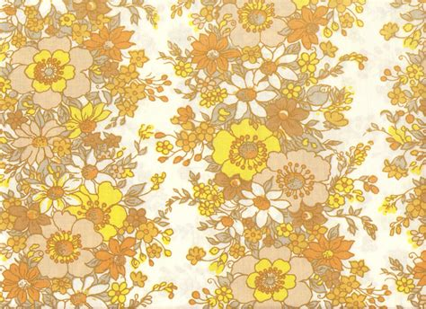 70s Floral by 70 S Yellow Brown Flower Pattern Textile A Photo On