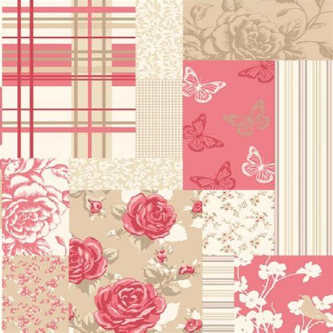 Pollyanna Patchwork - coloroll pollyanna patchwork flowers butterflies wallpaper