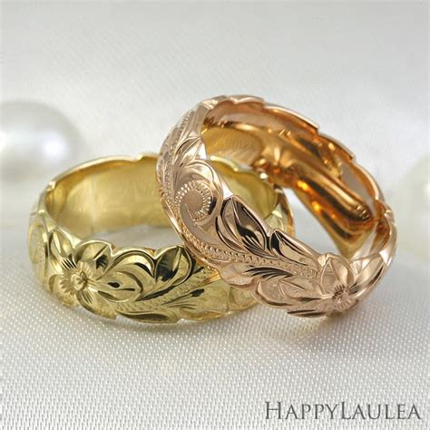 14k hawaiian jewelry gold ring engraved heritage