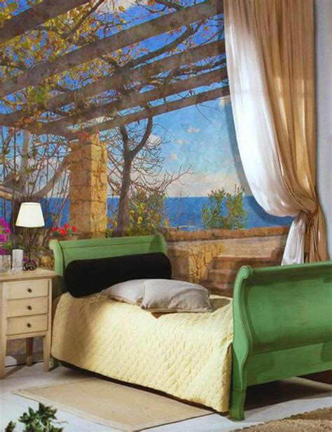 modern interior design with fresco wall murals inspired by fresco and mural art in vintage style romanticizing modern