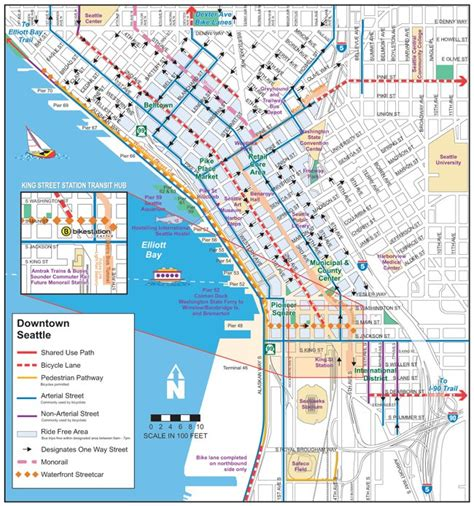 seattle map downtown seattle the bicycle