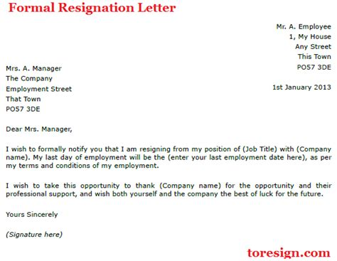 formal letter of resignation template formal resignation letter exle toresign