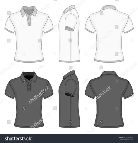 Mens White Black Short Sleeve Polo Stock Vector 201974824 Shutterstock Polo T Shirt Design Template