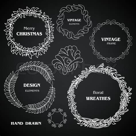 vintage chalkboard wreaths vignettes and frames set