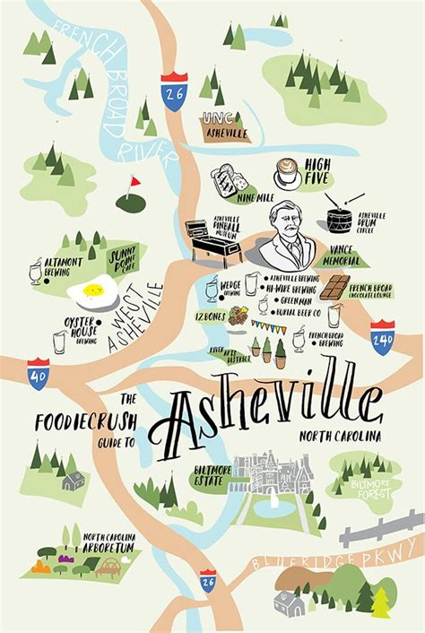 carolina brewery map food guide of where to eat in asheville nc