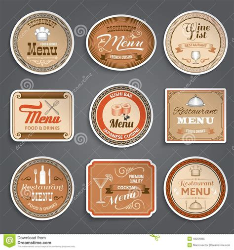 menu design label vintage menu labels stock vector image of product