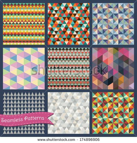 illustrator pattern triangle set of vector seamless geometric hipster backgrounds