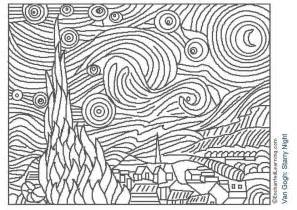 free printable famous art coloring pages for kids