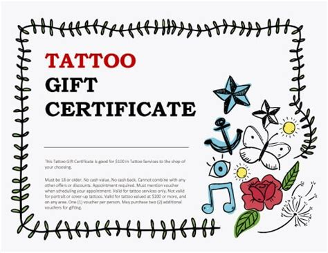 tattoo gift certificate 13 free printable gift certificate templates birthday