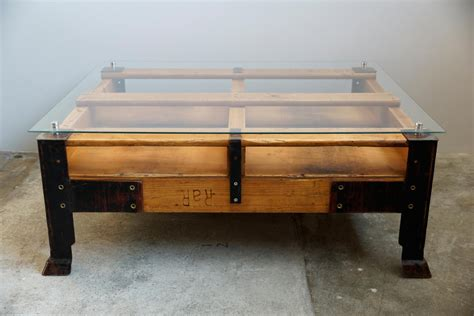 Industrial Glass Coffee Table Industrial Pallet Coffee Table With Glass Top For Sale At Pamono