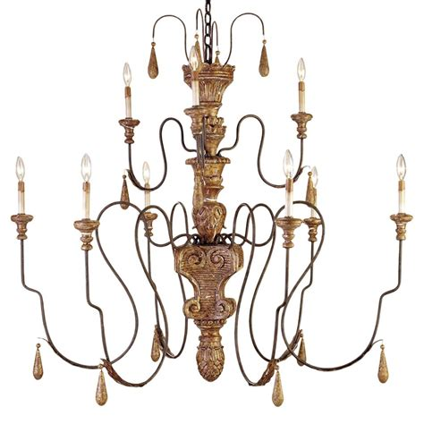 Country Chandeliers Manor Country Aged Gold 9 Light 2 Tier Chandelier Kathy Kuo Home