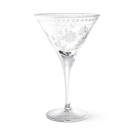 vintage martini glasses vintage etched martini glasses set of 4 williams sonoma