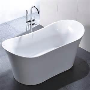 freestanding 67 inch slipper style white acrylic bathtub